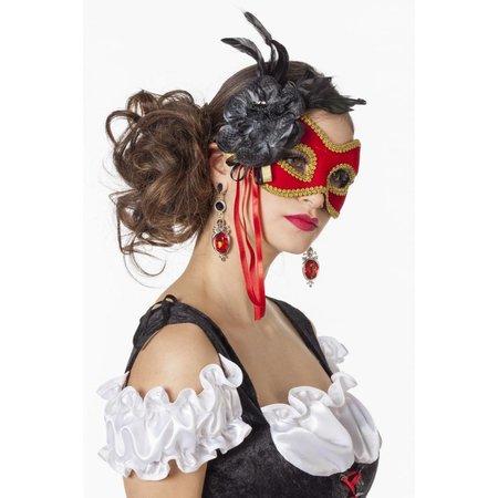 Masker met goudband en bloem rood