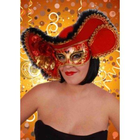 Oogmasker dames venetie rood met hoed