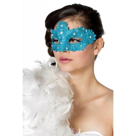 Masker stof met parels aqua