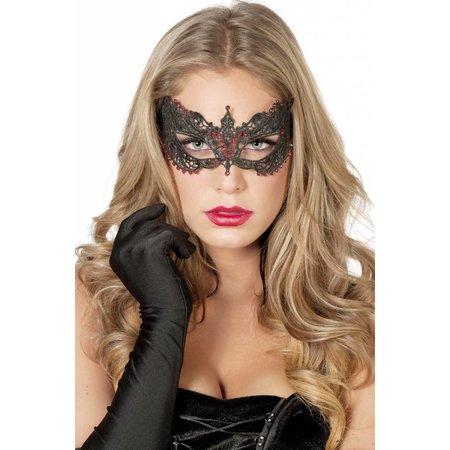 Masker stof met steentjes zwart/rood