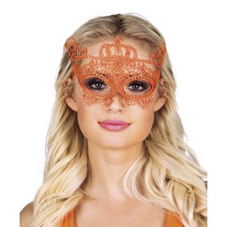 Masker oranje kant