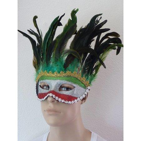 Masker Venetiaans groene veren