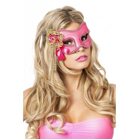 Masker roze met kralen goud