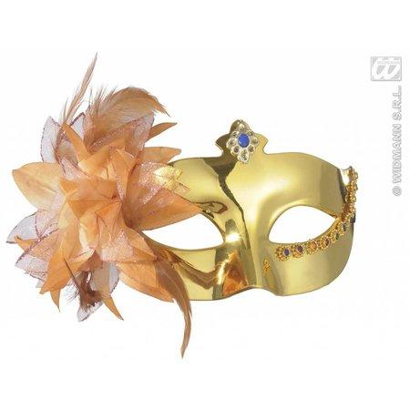 Oogmasker metalic goud met bloem
