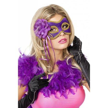 Masker met goudband en bloem paars