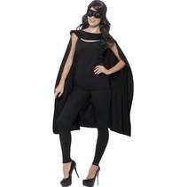 Helden cape met masker zwart