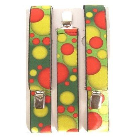 Bretels rood/geel/groen met bolletjes