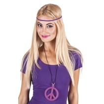 Hippie ketting fluor roze