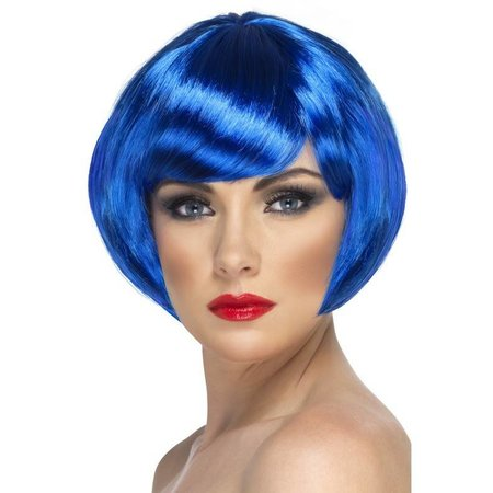 Pruik babe kort blauw