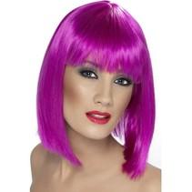 Pruik Glam neon paars