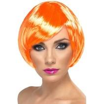 Glamour pruik bobline neon oranje