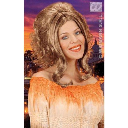 Pruik Catherine blond met bruine accenten