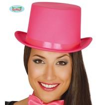 Hoge hoed satijn roze
