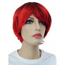 Pruik kort haar rood/zwart Riona