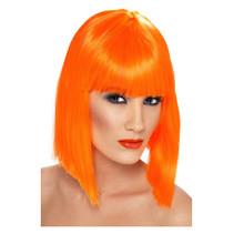 Pruik Glam neon oranje