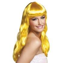 Party pruik lang haar chique geel
