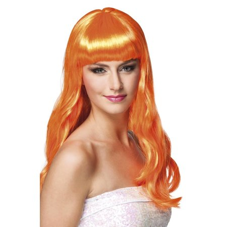 Feestpruik lang haar oranje Merel