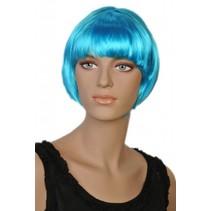 Pruik bobline kort turquoise Brooke
