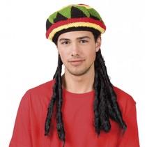 Feestpruiken: Pruik rasta met Bob Marley muts