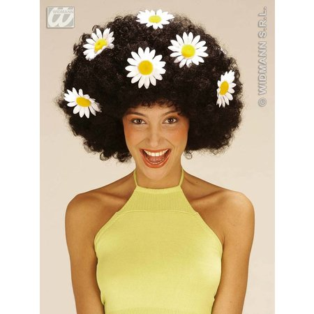 Krulpruik Daisy oversized zwart met bloemen