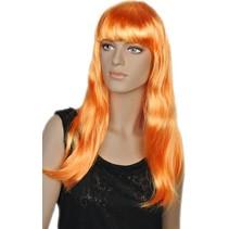 Pruik lang oranje Amalia