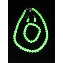 Ketting-Armband-Oorbellen Fluor Groen