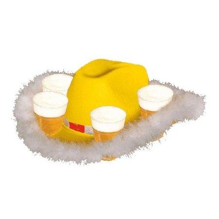 Hoed bier geel met bontrand