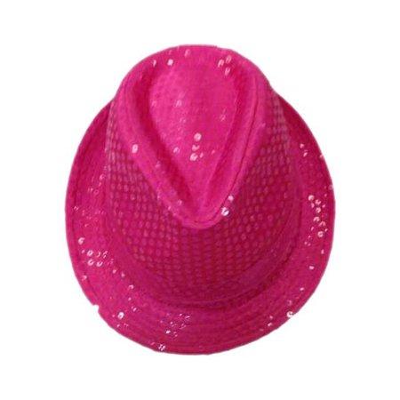 Gangsterhoed fluor pink met pailletten