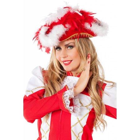 Dansmarietje hoed luxe rood met boa