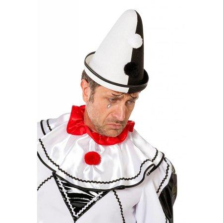 Pierrot hoed zwart/wit