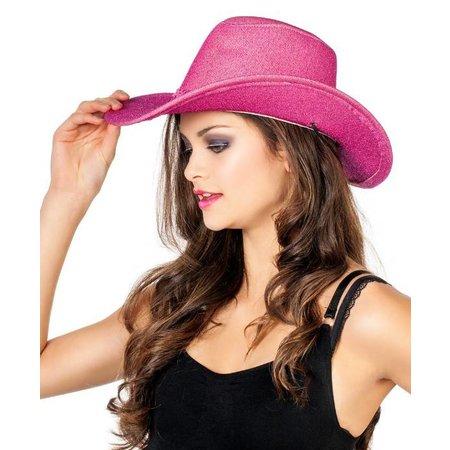 Cowboyhoed glitter roze