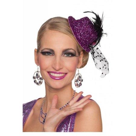 Minihoedje glitter paars Daisy