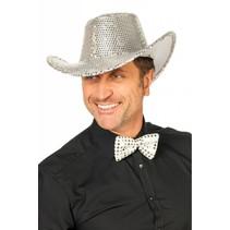 Cowboy glamour hoed pailletten zilver
