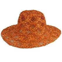 Strohoed dame oranje