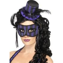 Burlesque oogmasker met hoedje paars/zwart