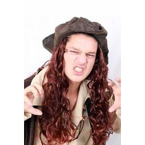 Hoed Caribbische piraat + bruin haar