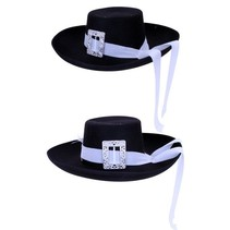 Musketier hoed zwart met witte band