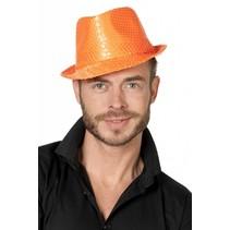Gangsterhoed pailletten neon oranje
