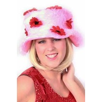 Dameshoed pluche roze met bloemen