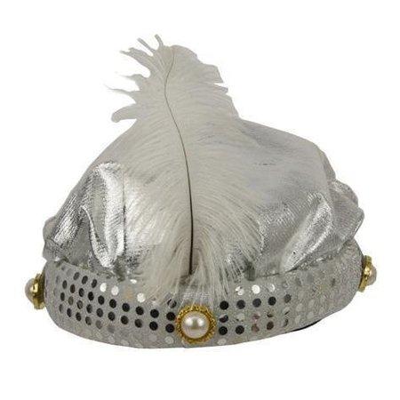 Hoed Sultan zilver + pluim