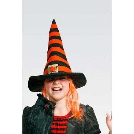 Heksenhoed oranje gestreept met haar
