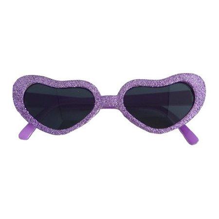 Funbril glitter hartjes lila