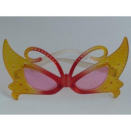 Funbril vlinder geel/rood