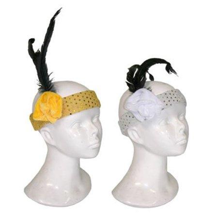 Haarband met veer en bloem