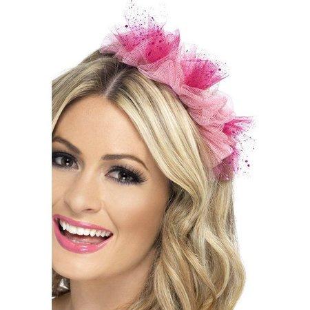 Roze hoofdband met bloemendecoratie
