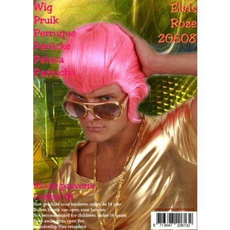 Pruik Elvis Pink fluor