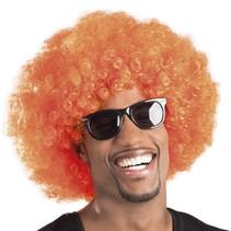 Afro pruik oranje