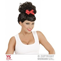 Pin Up pruik zwart met rode strik