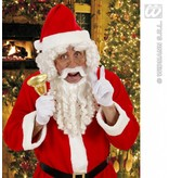 Kerstmanpruik krul met baard, snor en wenkbrauwen