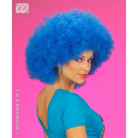 Pruik Afro blauw extra krul elite